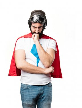 young super hero thinking