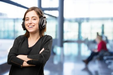 Young pretty woman with headphones