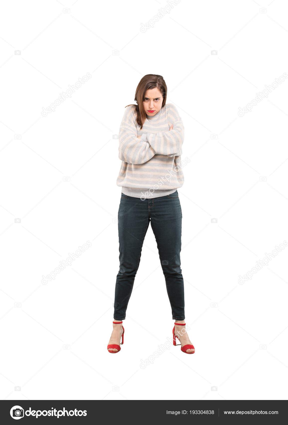 Mujer Bonita Joven Con Expresión Enojada Persona Recorte Cuerpo