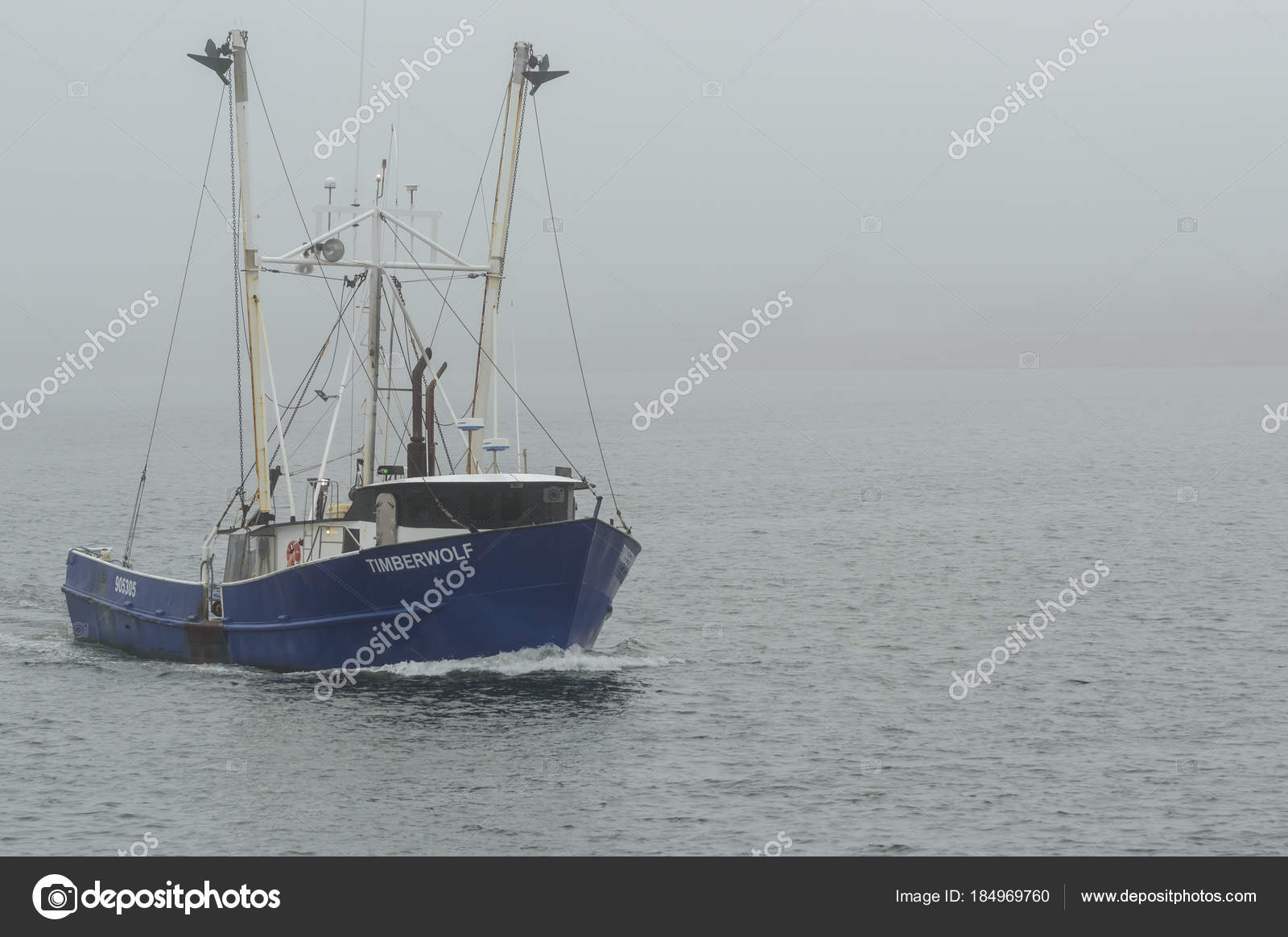 Commercial fishing boat timberwolf on foggy day stock for Mass commercial fishing license