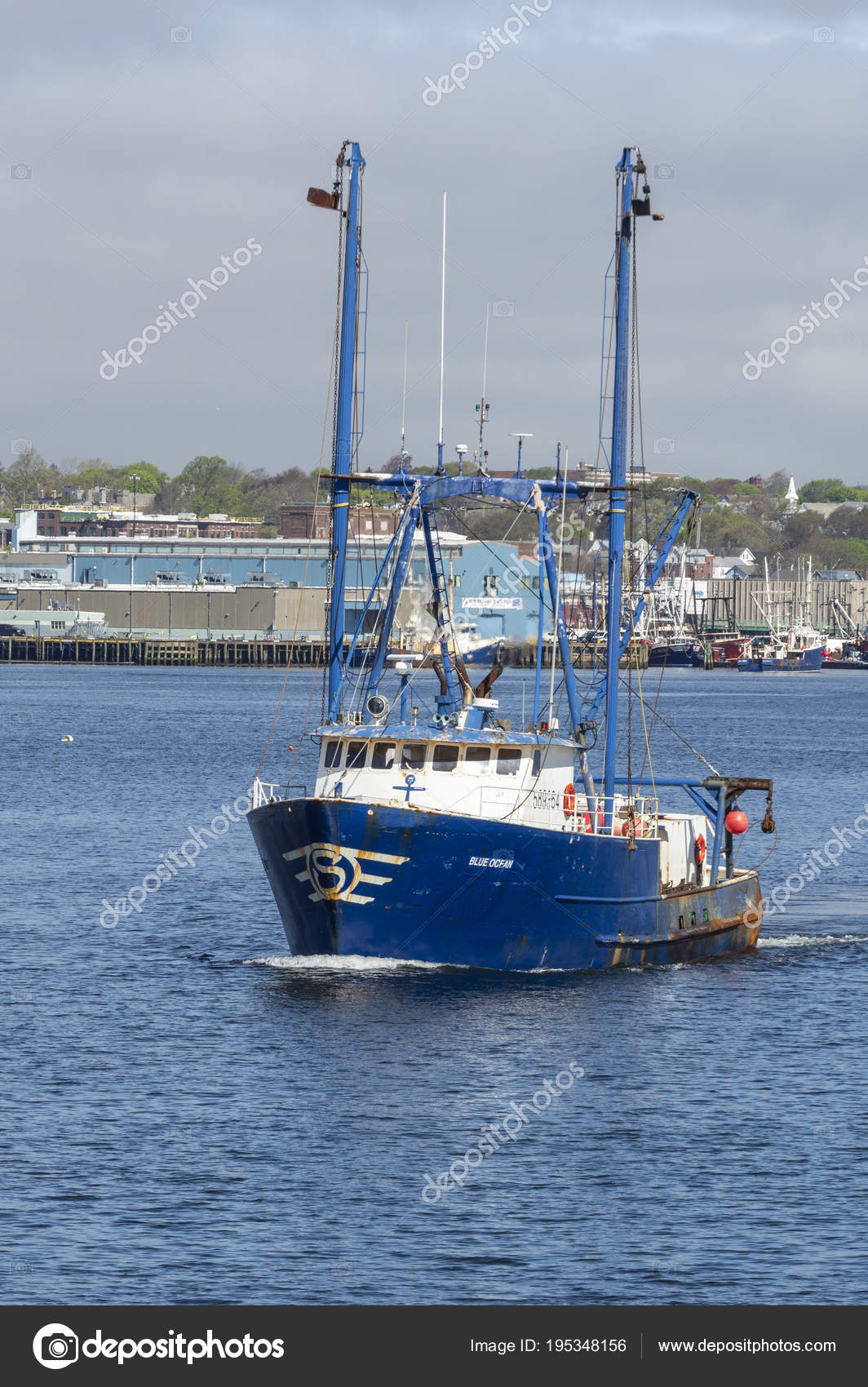 Commercial fishing vessel Blue Ocean crossing New Bedford harbor