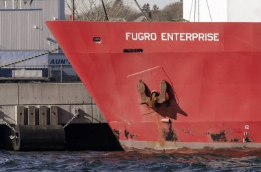 Anchor on bow of survey vessel Fugro Enterprise