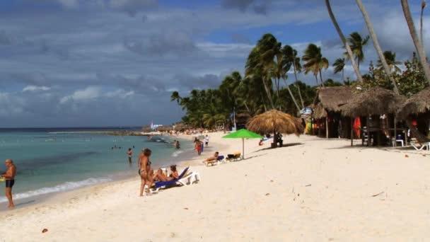 People Relax At The Beach In La Romana Dominican Republic Stock Video