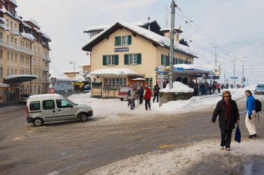 Grindelwald train station in Jungfrau region Switzerland in spring