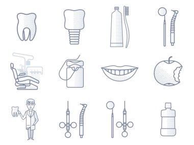 Vector line dental icon.