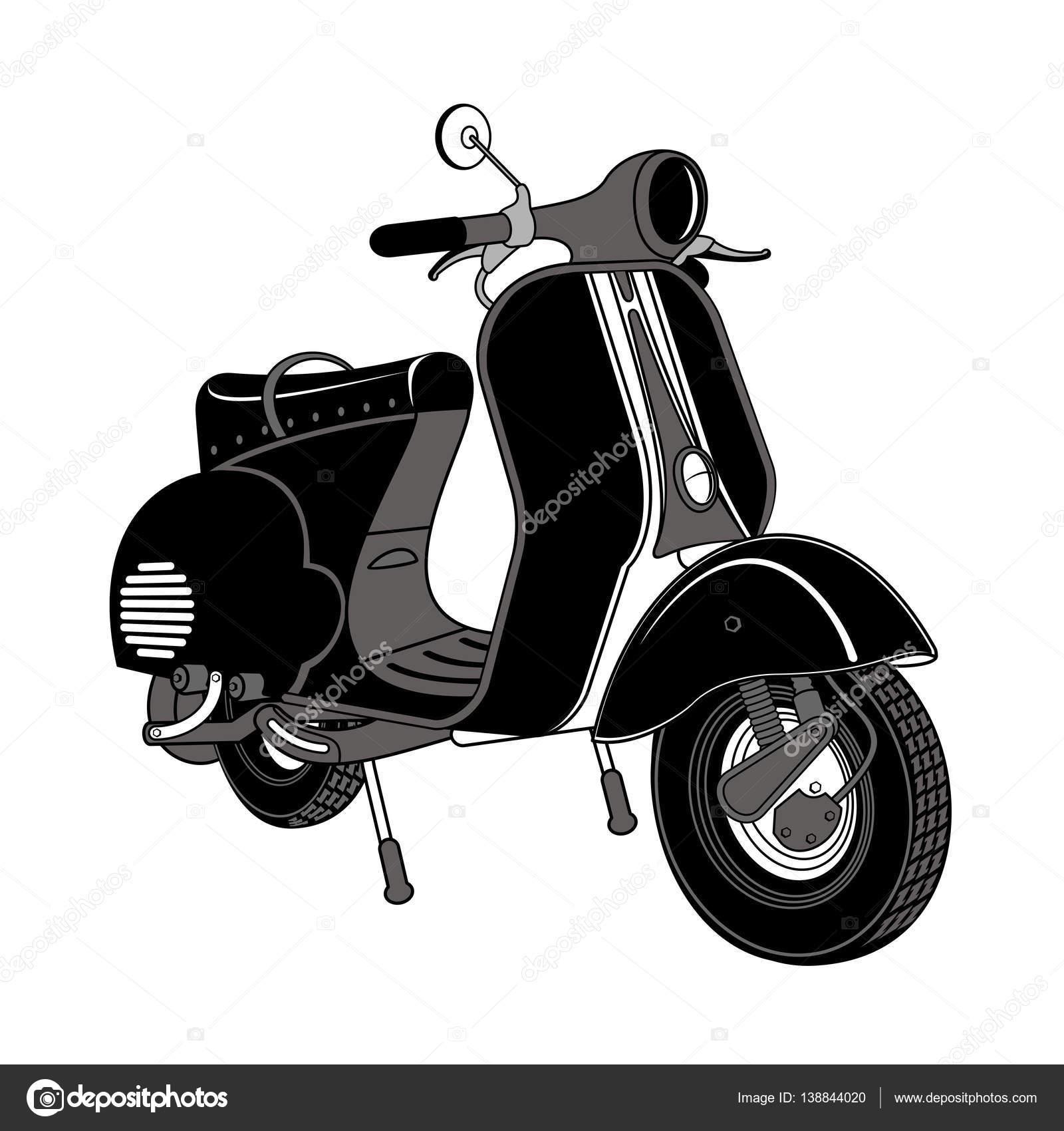 Vector Illustration Of Vintage Scooter Stock Vector C Samorodinov 138844020