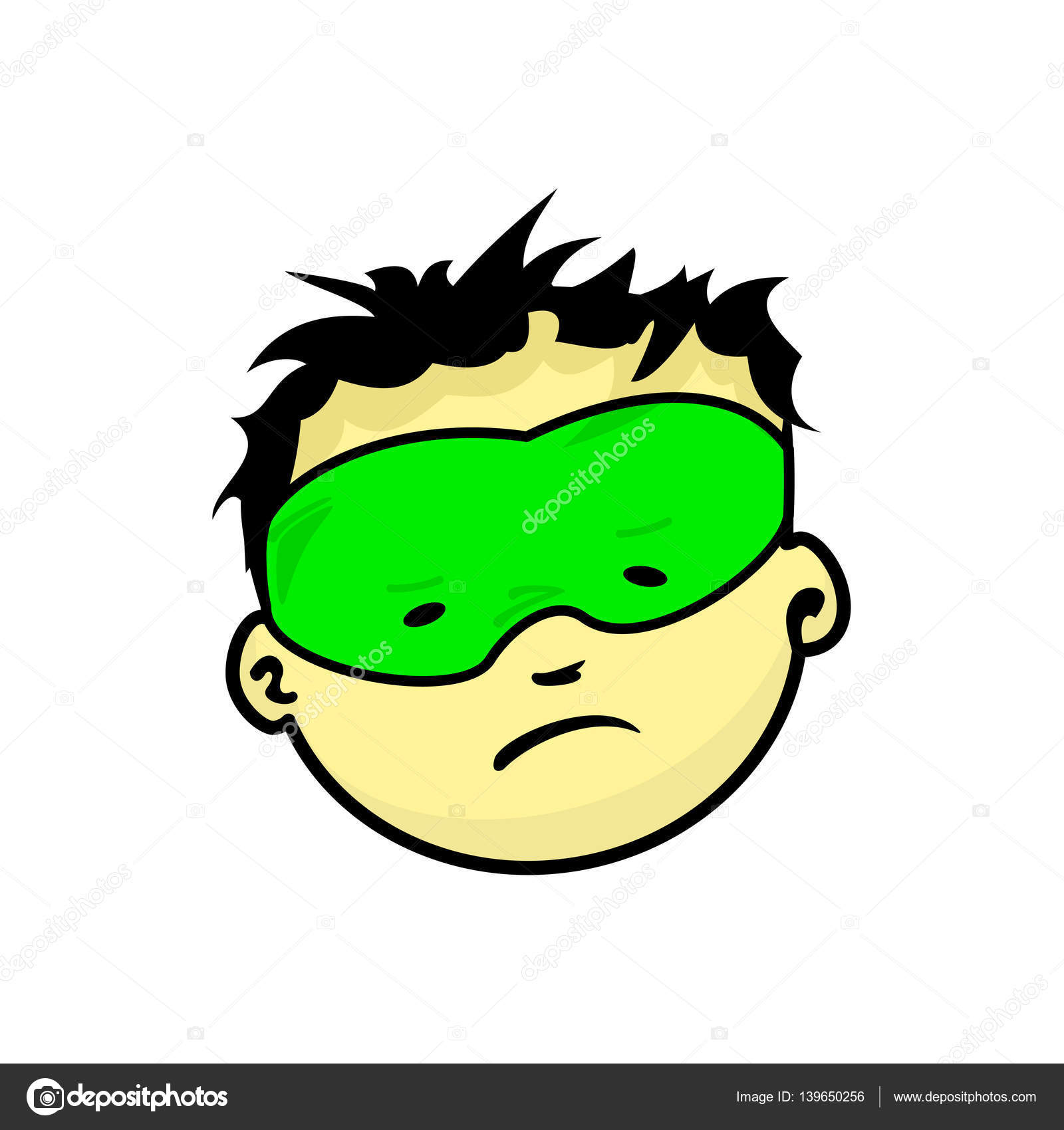 Young Masked Super Man Face Expression Stock Vector