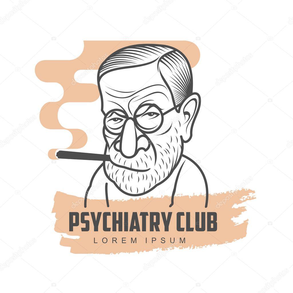 Cartoon caricature portrait of Sigmund Freud — Stock ...