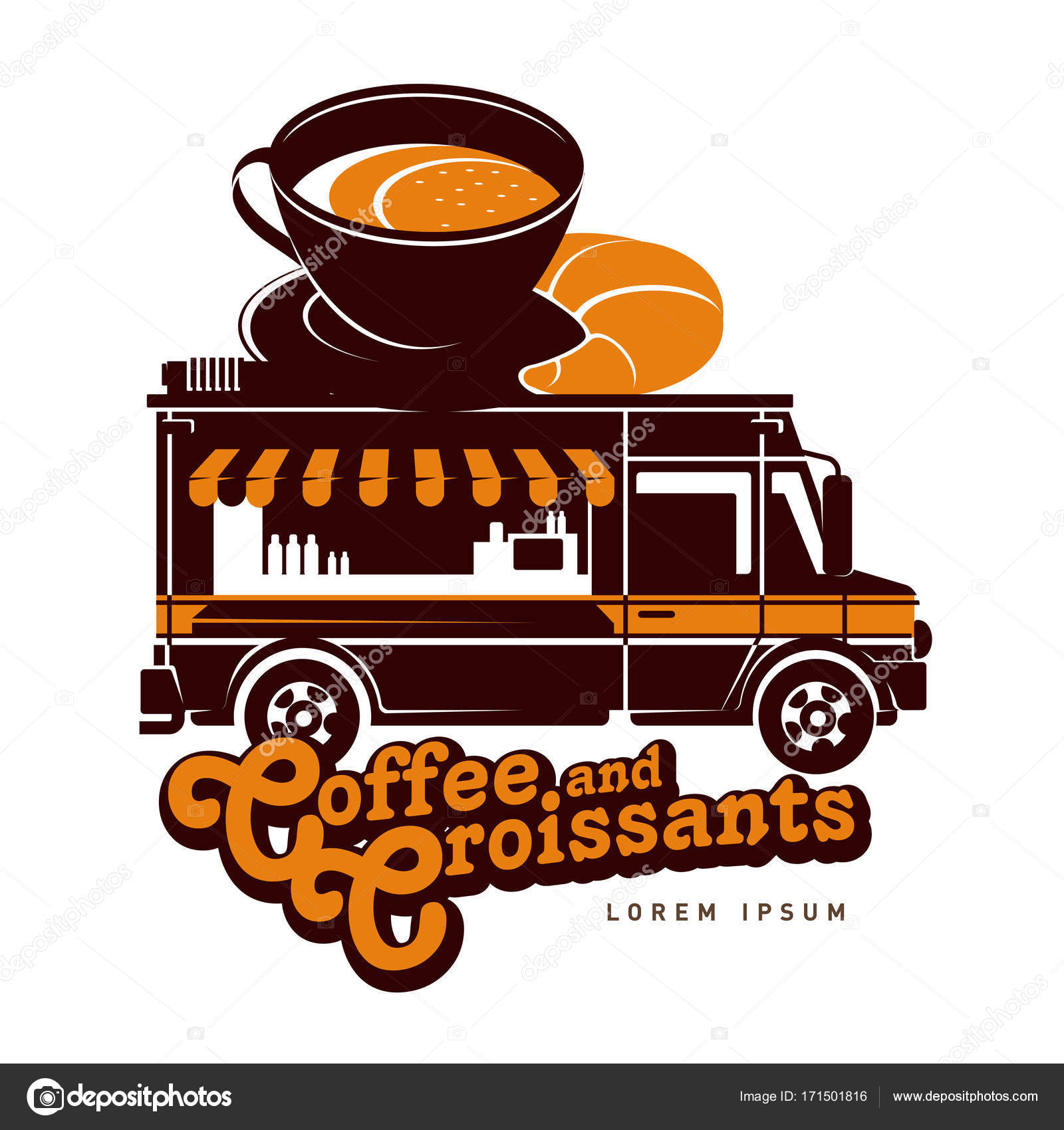 Food Truck Coffee And Croissants Logo Vector Illustration Vintage Style Badges Labels Design Concept For Confectionery Delivery Service