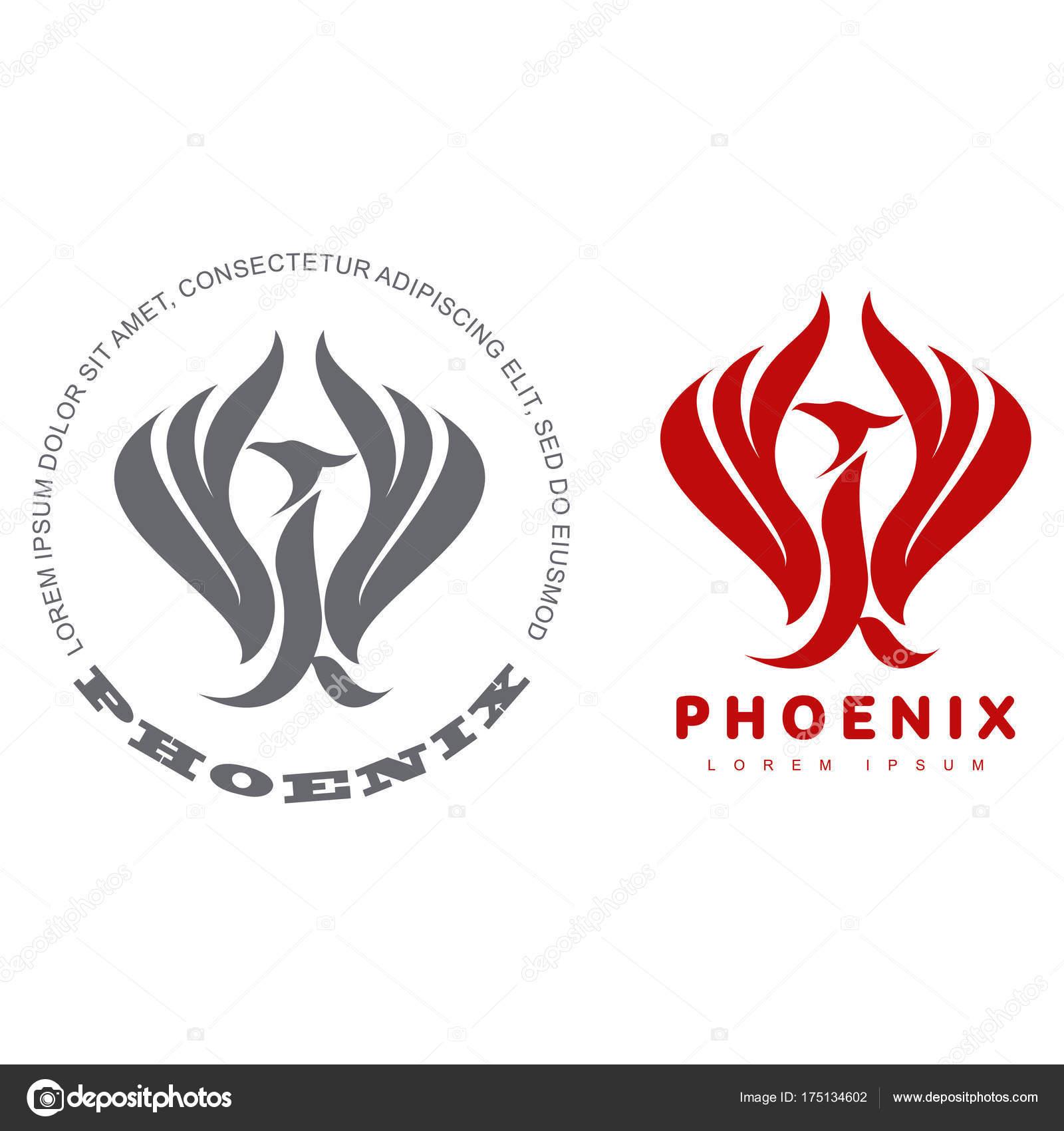 Stilisierte Grafik Phönix Vogel Logo Vorlagen Sammlung Von Kreativen