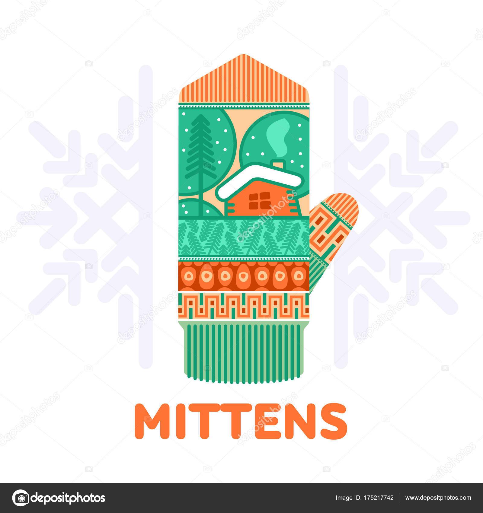 Ilustraciones Mitones Invierno Suaves Colores Vintage Plantillas ...