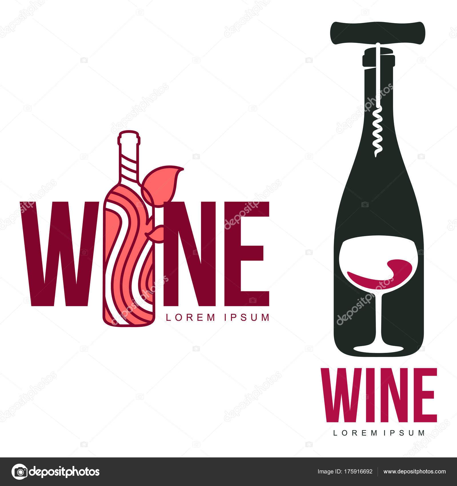 Wein Logo Vorlagen Für Ihr Design Flasche Glas Weintraube Wein ...