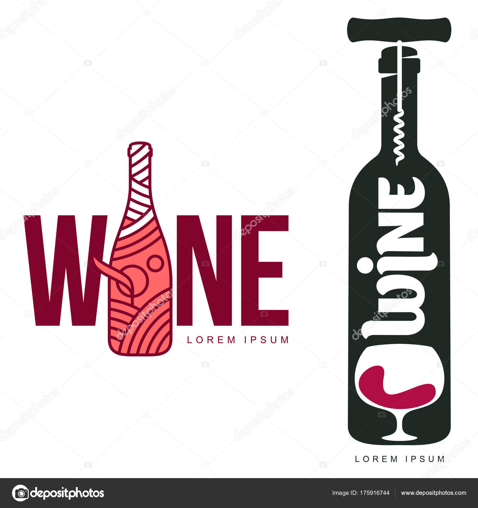 Wine Logo Templates Your Design Bottle Glass Bunch Grapes Wine ...
