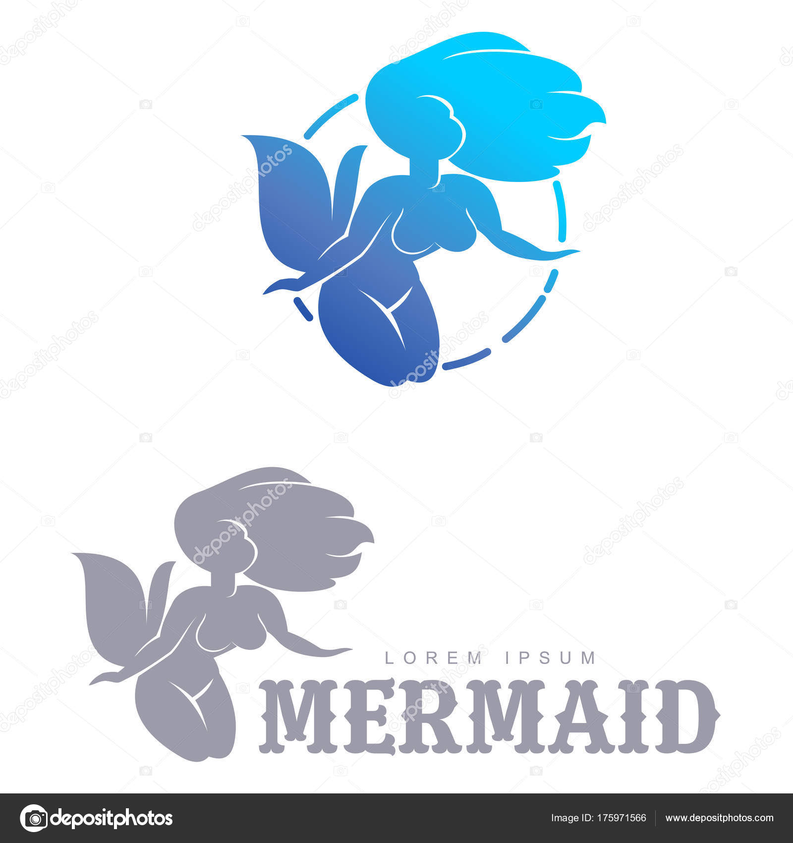 mermaid logo templates stock vector samorodinov 175971566
