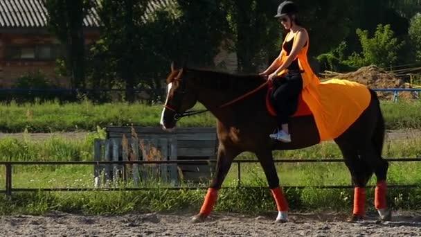 Pferdeschule: Mädchen lernt Reiten in Zeitlupe.
