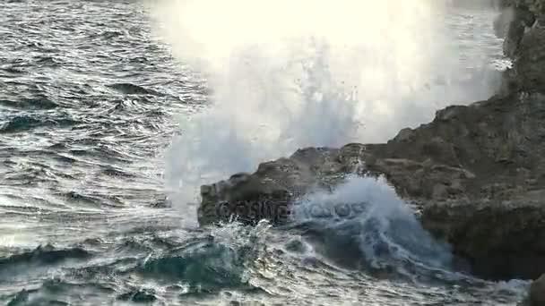 pěnivých mořských vln shazovat hnědé skalnaté pobřeží v Egyptě v Slo-Mo