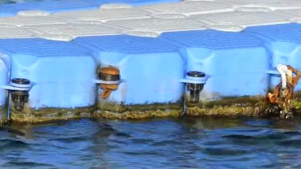 Kék és fehér műanyag ponton nyáron Egyiptomban a Vörös-tenger vizein