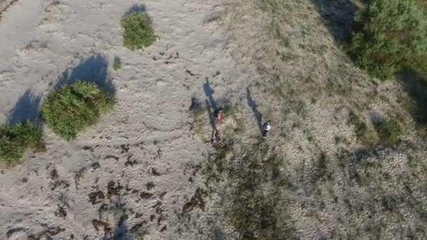 Aerial Shot Of Dzharylhach Island With People Walking Along Its Sandy Soil On A Sunny