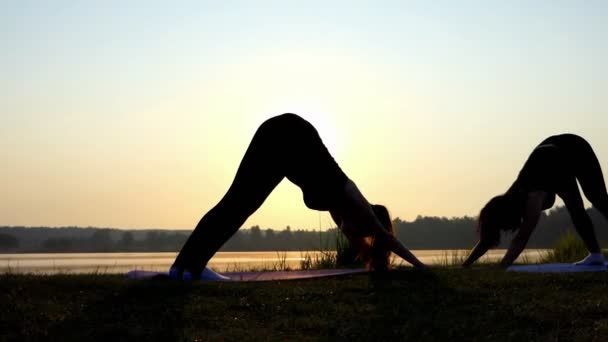 Two Women do Dog-Face-Down Yoga Exercise at Sunset on a Lake Coast in Slo-Mo