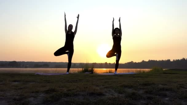 Two Young Women do Yoga Tree Exercises at a Picturesque Sunset in Slo-Mo