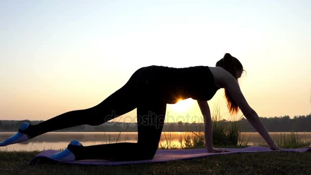 a Pregnant Woman Raises Her Arm and Leg on a Mat at a Lake Bank at Sunset