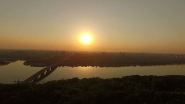Aerial - Amazing view of sunset over Dnipro river in the Kyiv.
