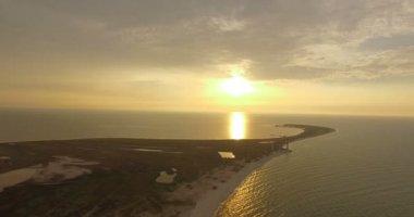 Aerial Shot of Amazing Sunset on Dzharylhach Island With a Splendid Sunpath