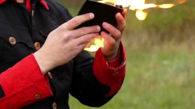 Magician Opens Wallet And Sets it on Fire. he Blows and Gets Huge Fire in Slo-Mo