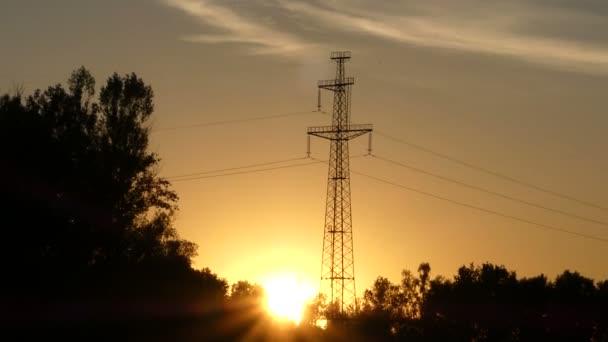 Vysoká kovová elektrická věž při západu slunce v lese