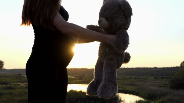 Lovely monet - young pregnant girl play with bear at sunset.