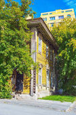 Novosibirsk, Siberia, Russia - September 17, 2017: Residential house V. Y. Vagina, a monument of wooden architecture (built in 1903), the Communist street 31