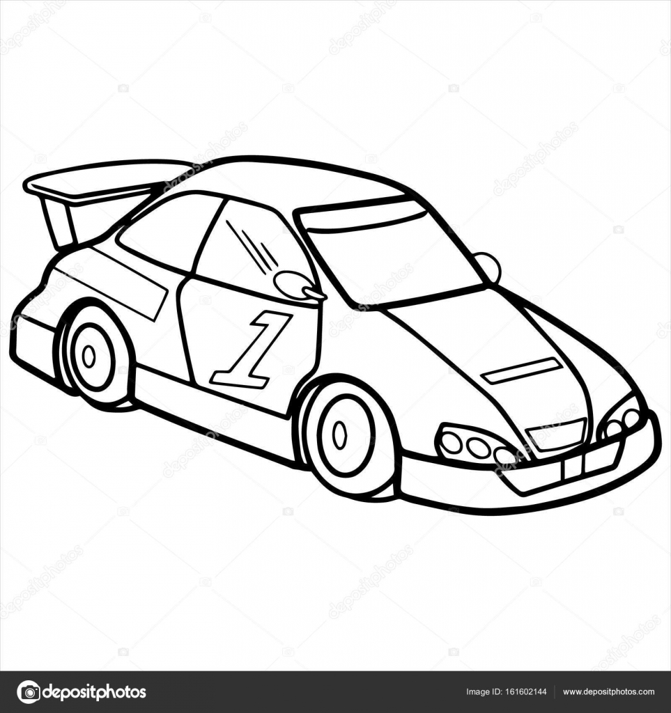 Sport Car Cartoon Illustration Isolated On White Stock Vector