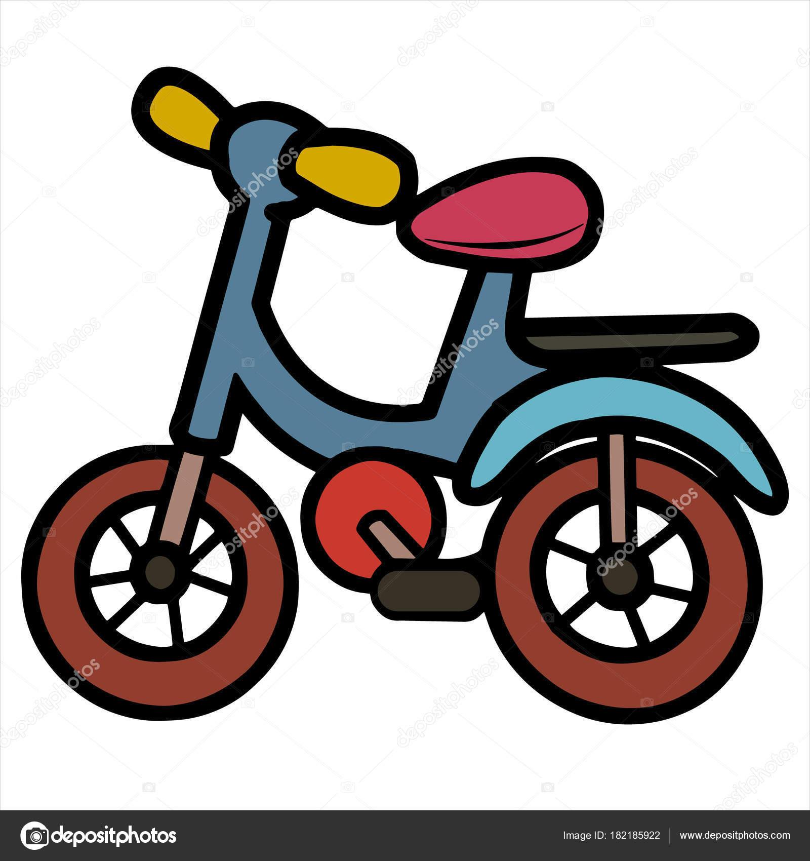 Impresiones Bicicleta Dibujos Animados Sobre Fondo Blanco Para Los ...