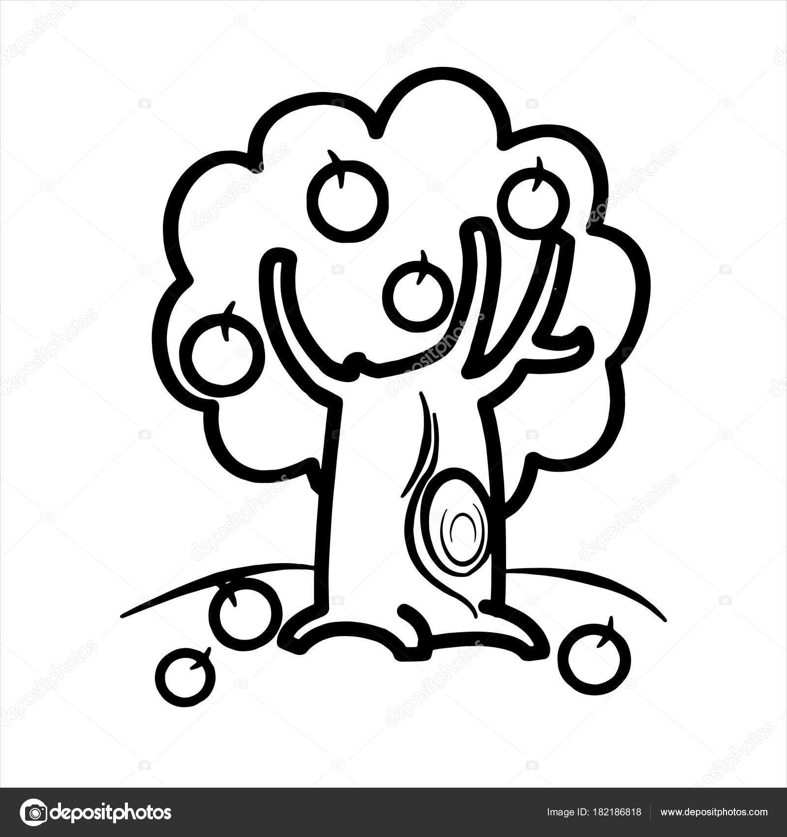 Impresiones Manzano Dibujos Animados Sobre Fondo Blanco Para Los ...
