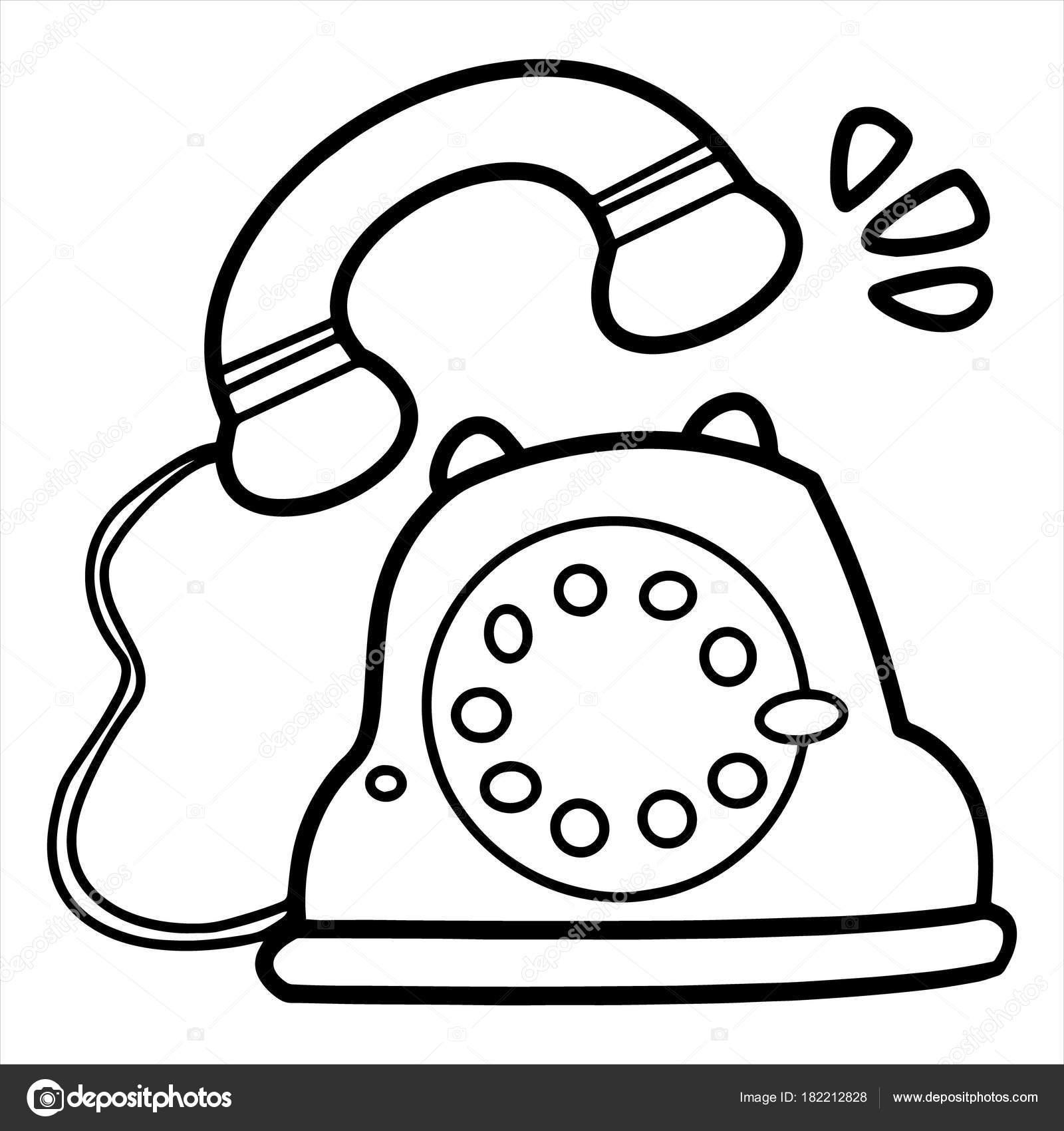 Cute Cartoon Classic Telephone White Background Childrens Prints