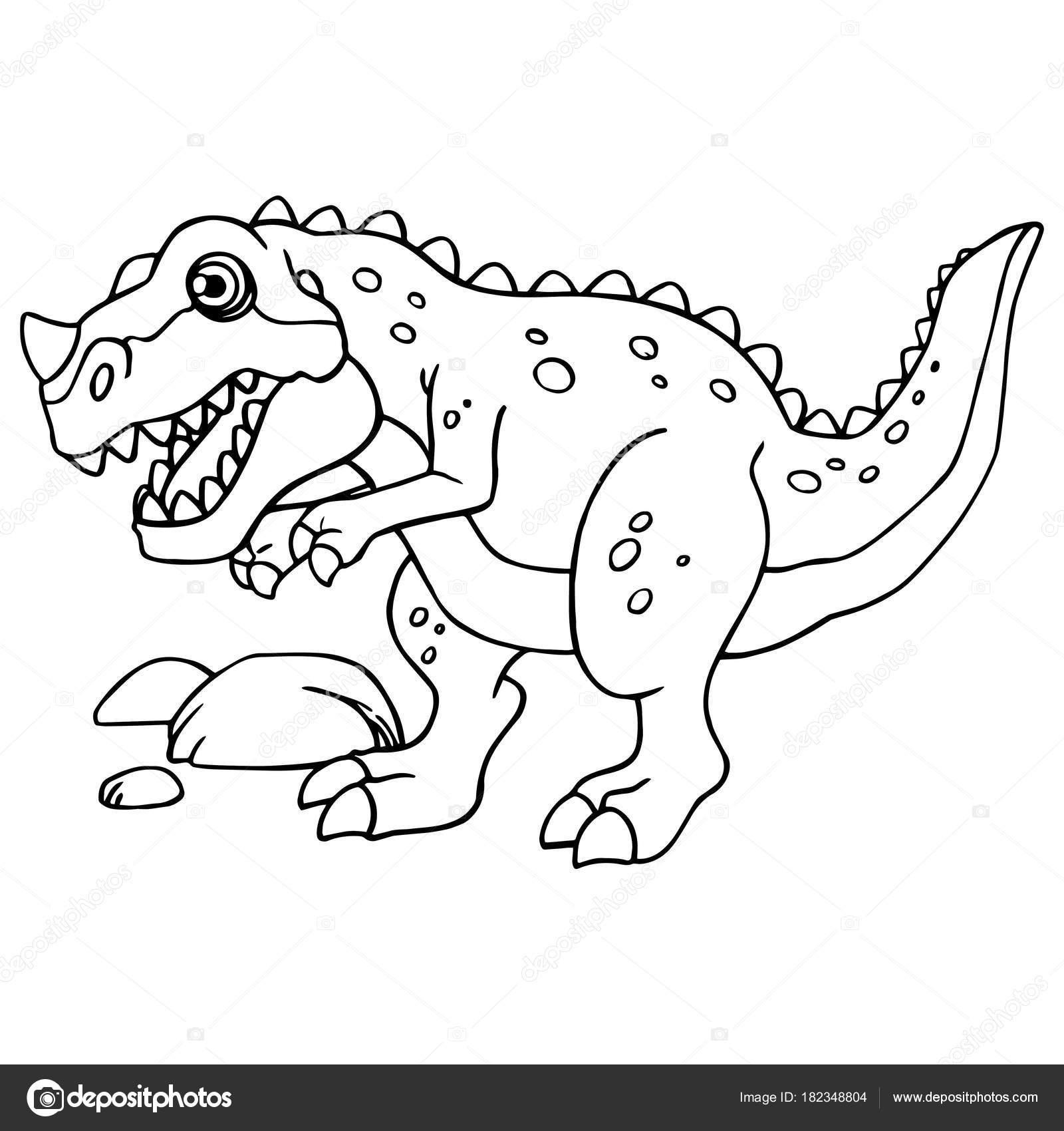 Impresiones Tyrannosaurus Dinosaurio Dibujos Animados Sobre Fondo ...