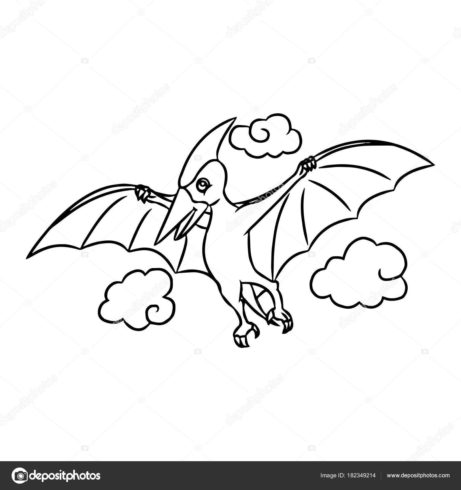 Impresiones Pterodáctilo Cute Dibujos Animados Sobre Fondo Blanco ...