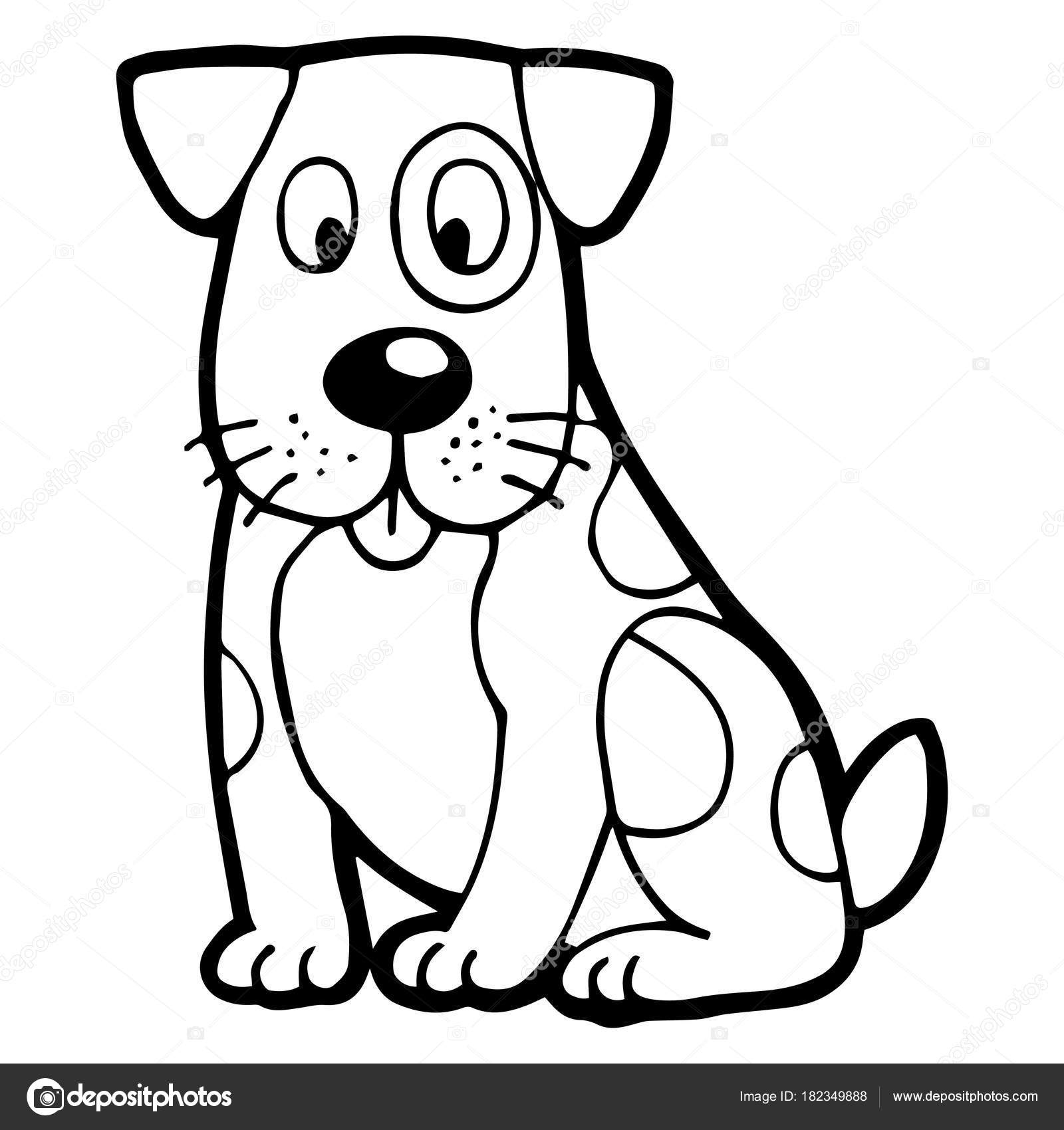 Cute cartoon dog on white background for childrens prints t shirt color book funny and friendly character for kids vector by