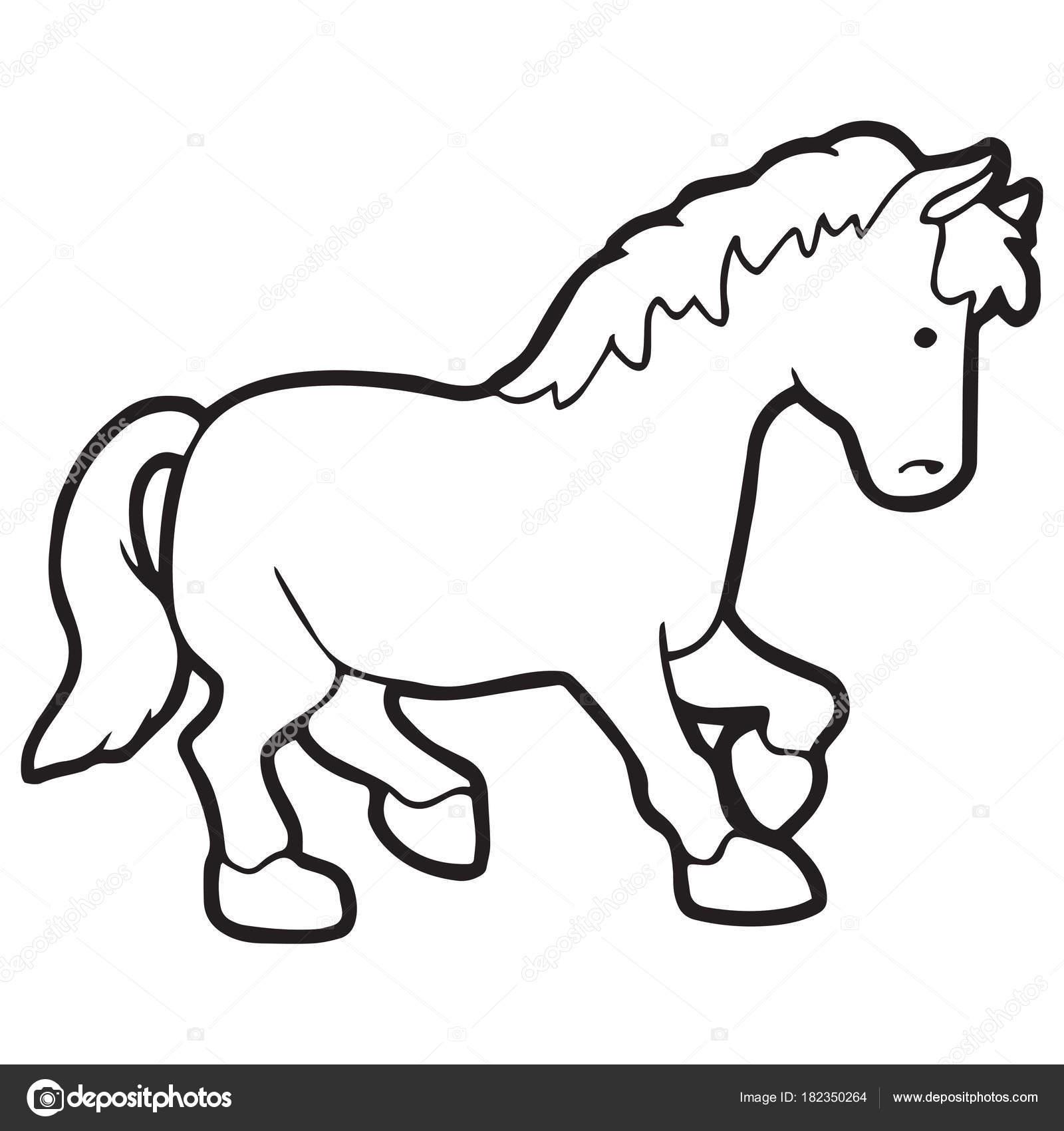 Cute Cartoon Horse White Background Childrens Prints Shirt Color Book Stock Vector C Foxynguyen 182350264