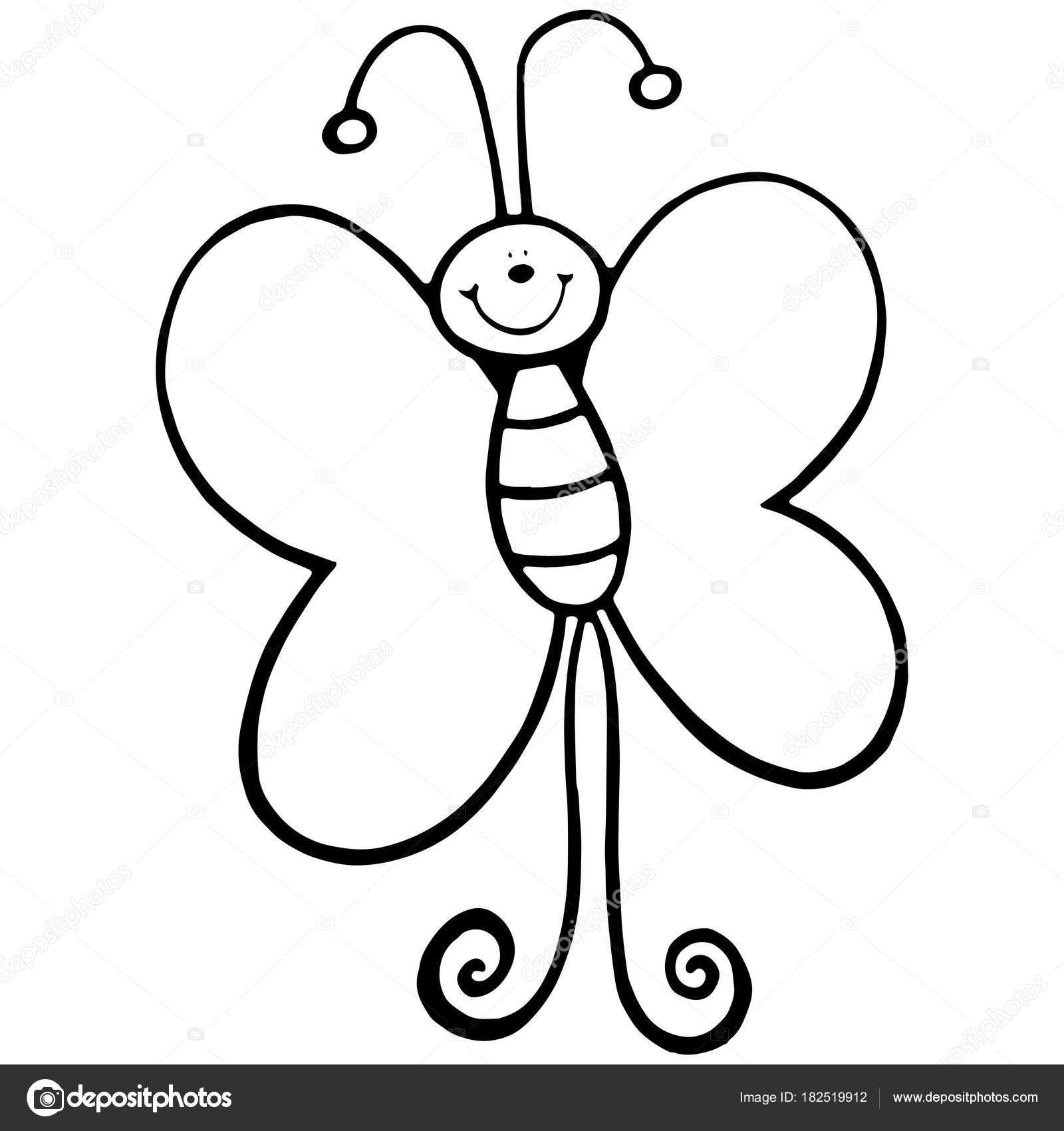 Estampados Mariposa Dibujos Animados Sobre Fondo Blanco Para Los ...