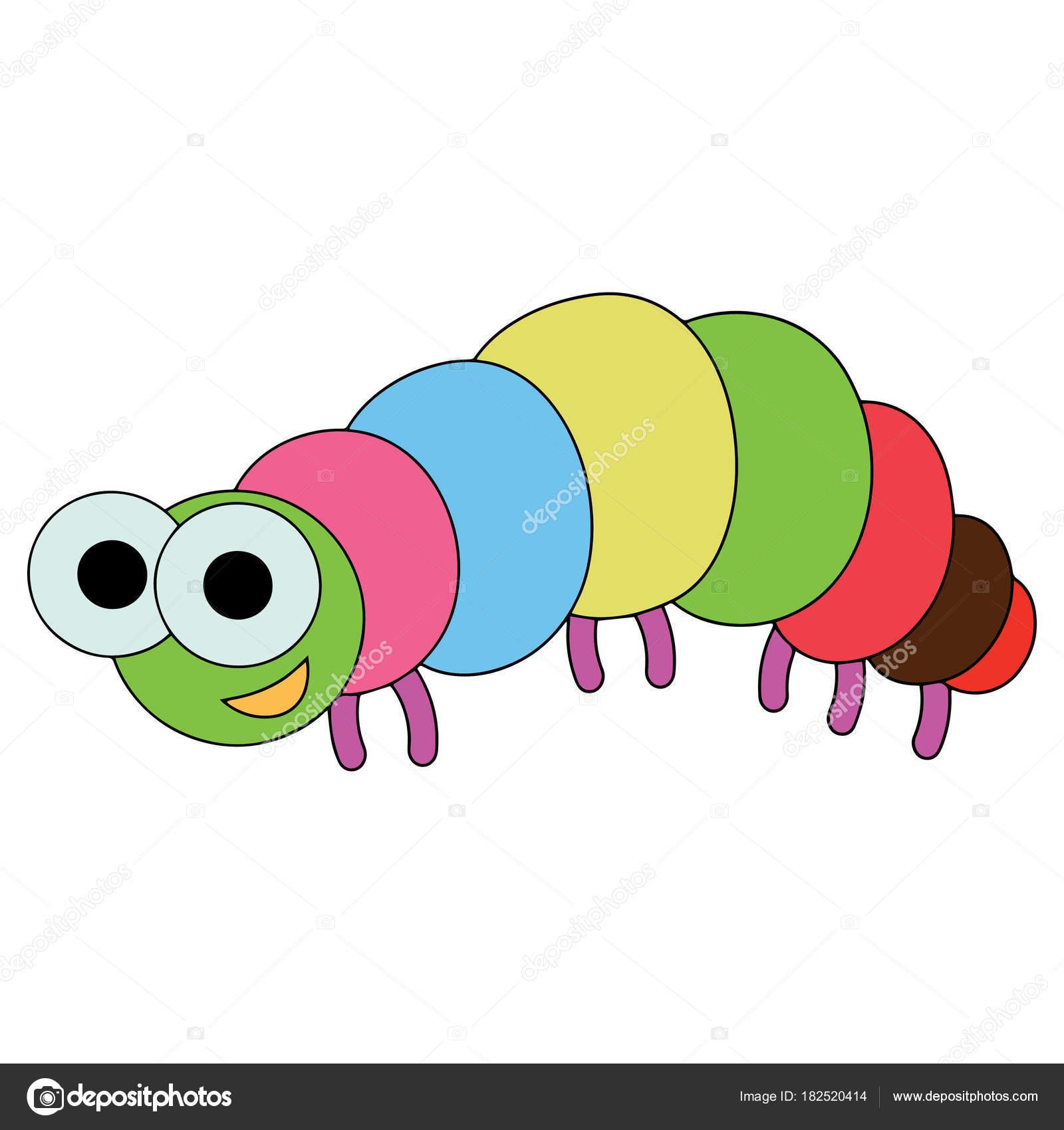 Cute Cartoon Caterpillar White Background Childrens Prints Shirt