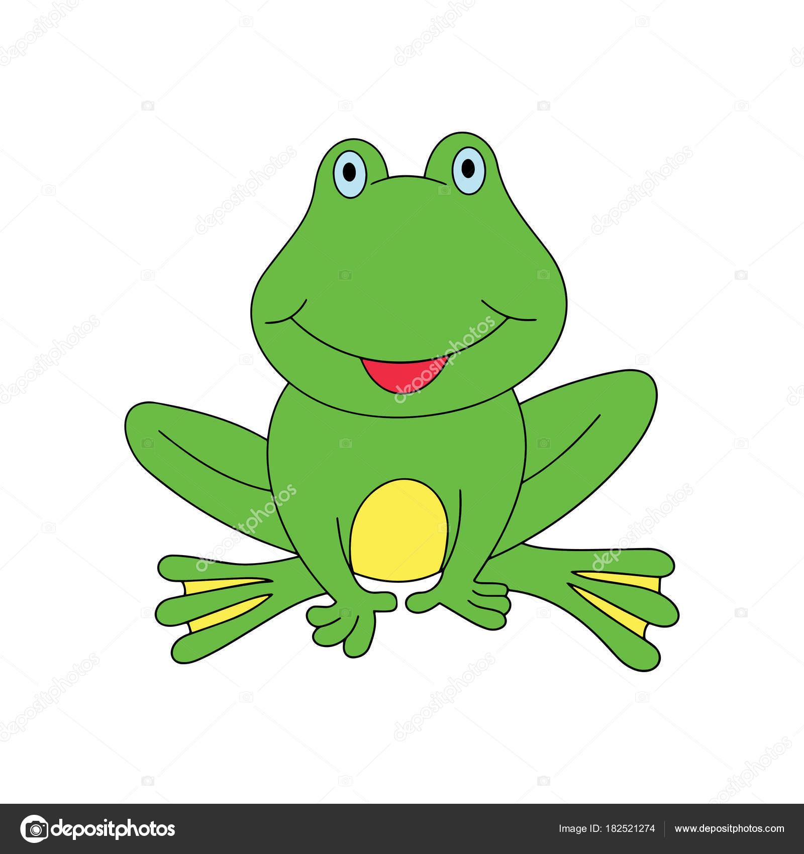 Niedlichen Cartoon Frosch Auf Weißem Hintergrund Für Kinder Drucken