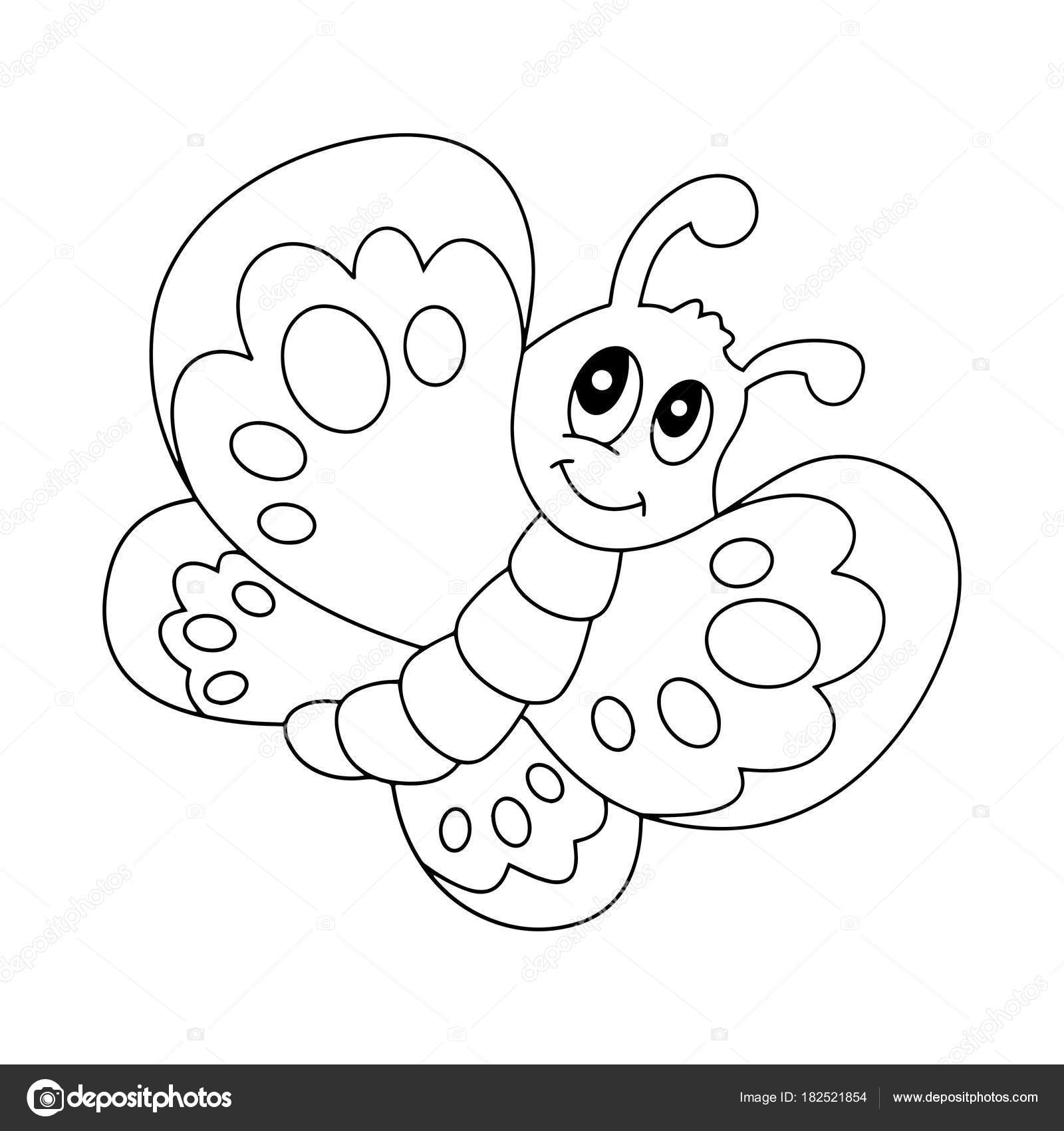 Cute Cartoon Butterfly White Background Childrens Prints ...