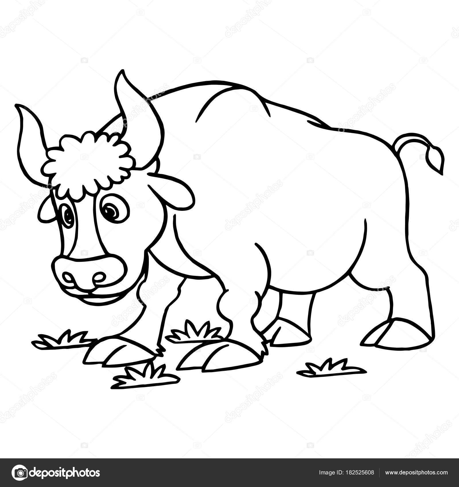 Impresiones Toro Dibujos Animados Sobre Fondo Blanco Para