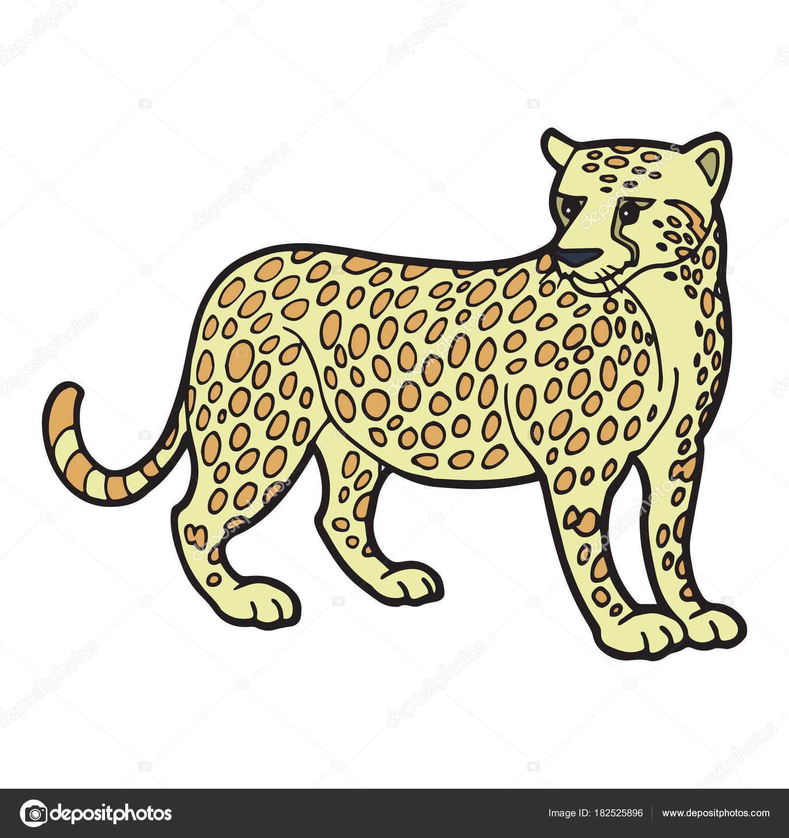 Leopardo bonito dos desenhos animados sobre fundo branco - Image leopard a imprimer ...