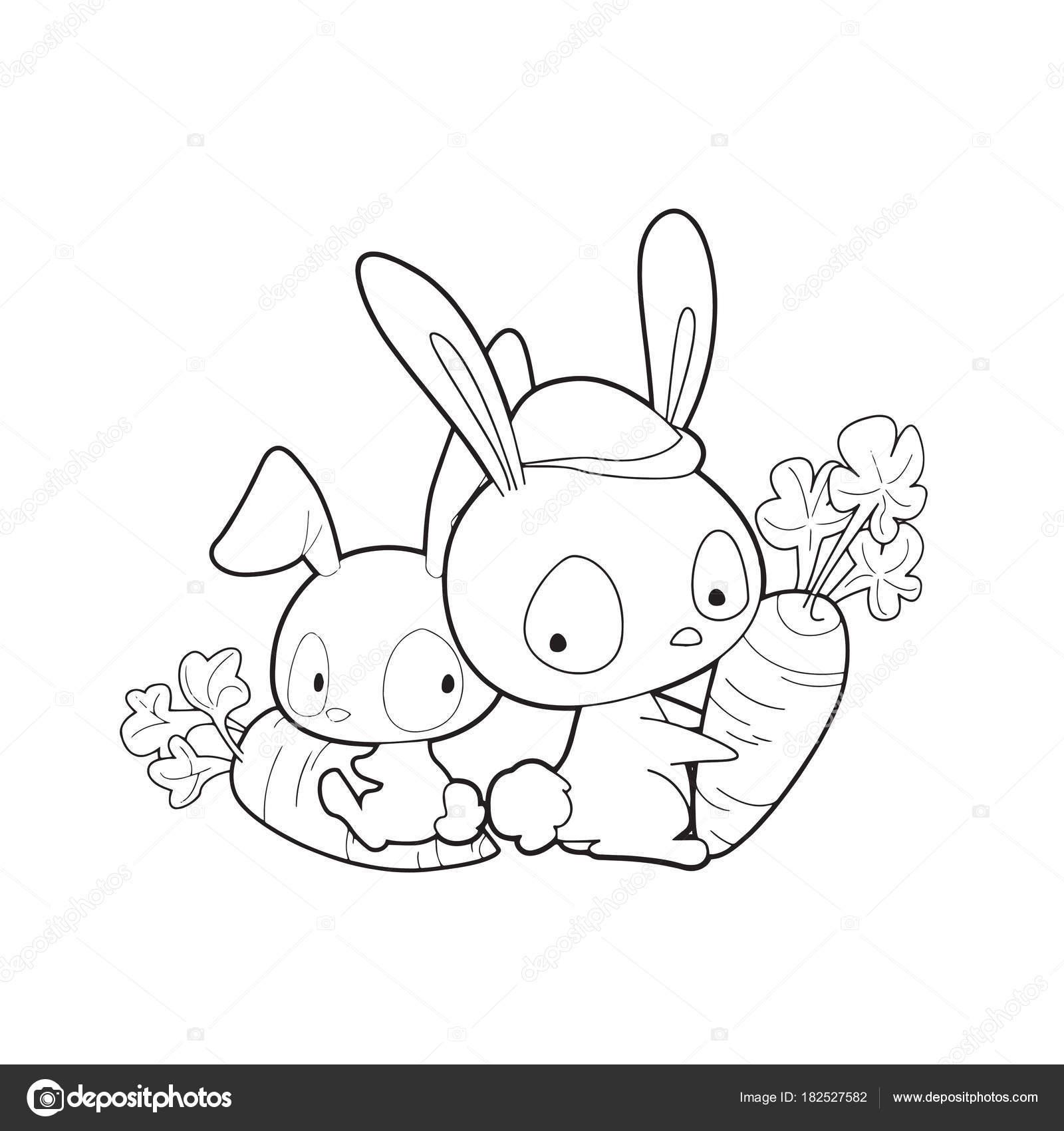 Conejo Dibujos Animados Sobre Fondo Blanco Para Los Niños Estampados ...
