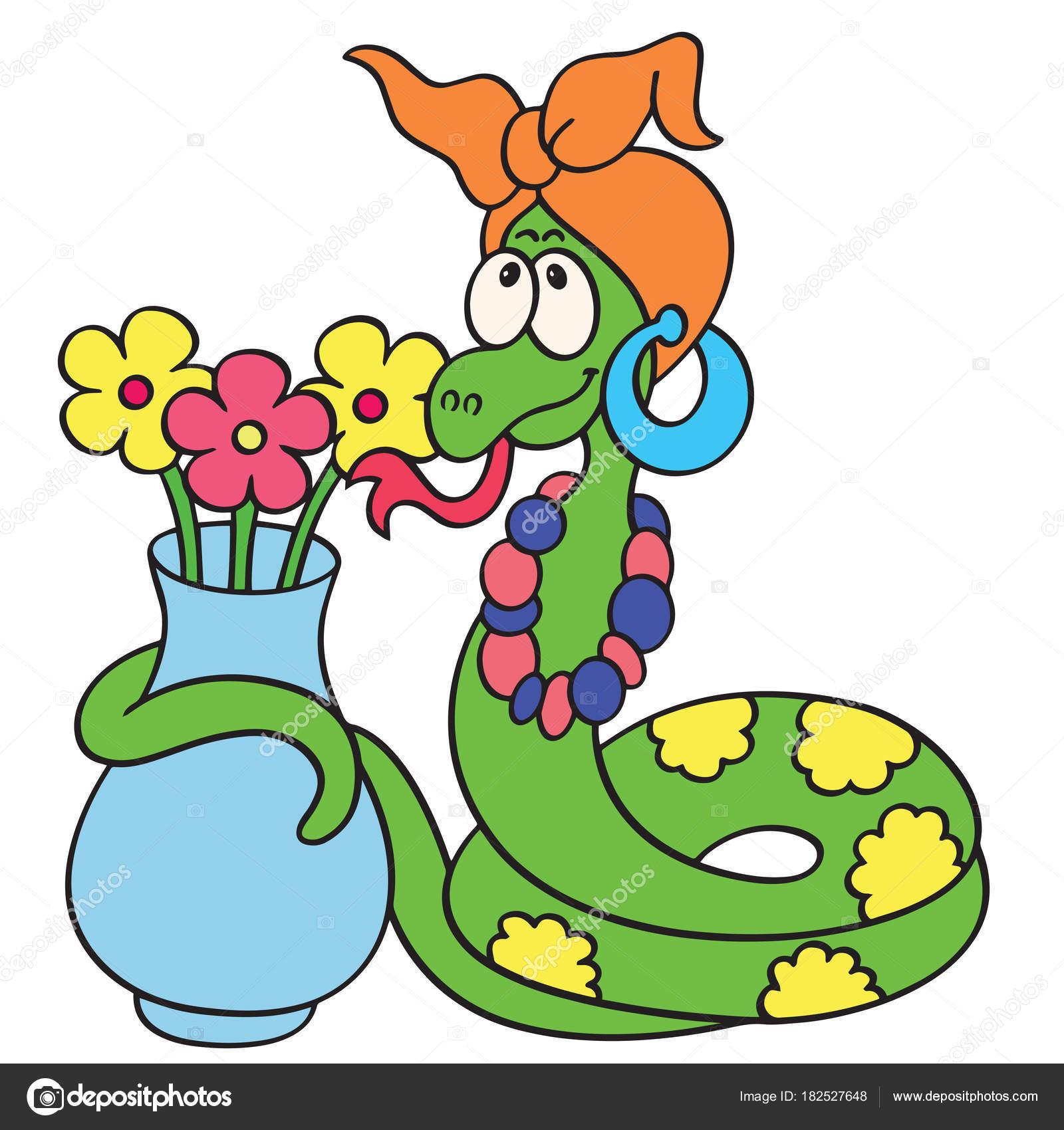 Florero Dibujo A Color Estampados Serpiente Dibujos Animados Lindo