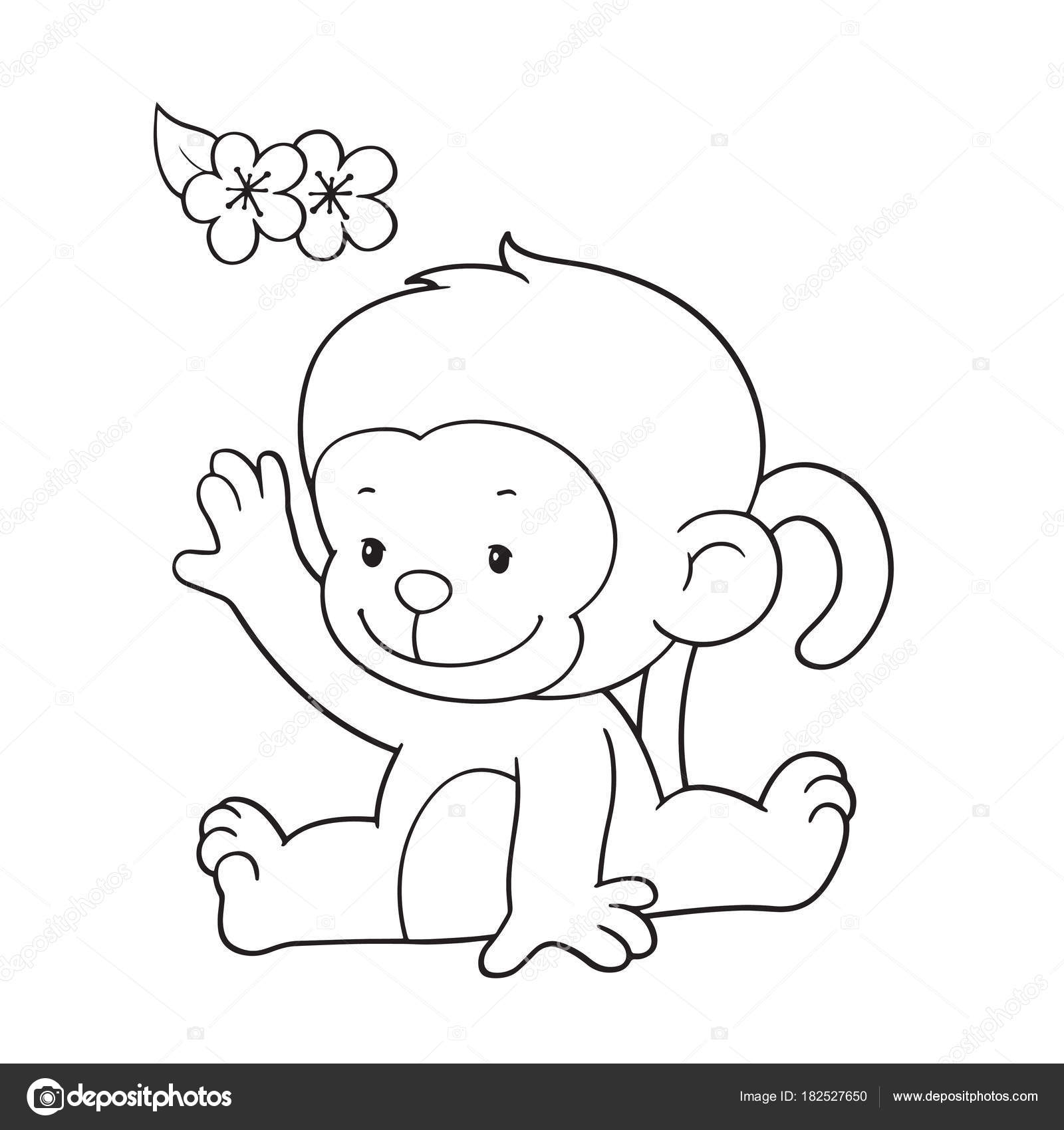 Cute Cartoon Monkey On White Background For Childrens Prints T Shirt Color Book Funny And Friendly Character Kids Vector By Foxynguyen