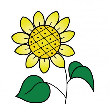 Cute cartoon sunflower on white background for childrens prints, t-shirt, color book, funny and friendly character for kids
