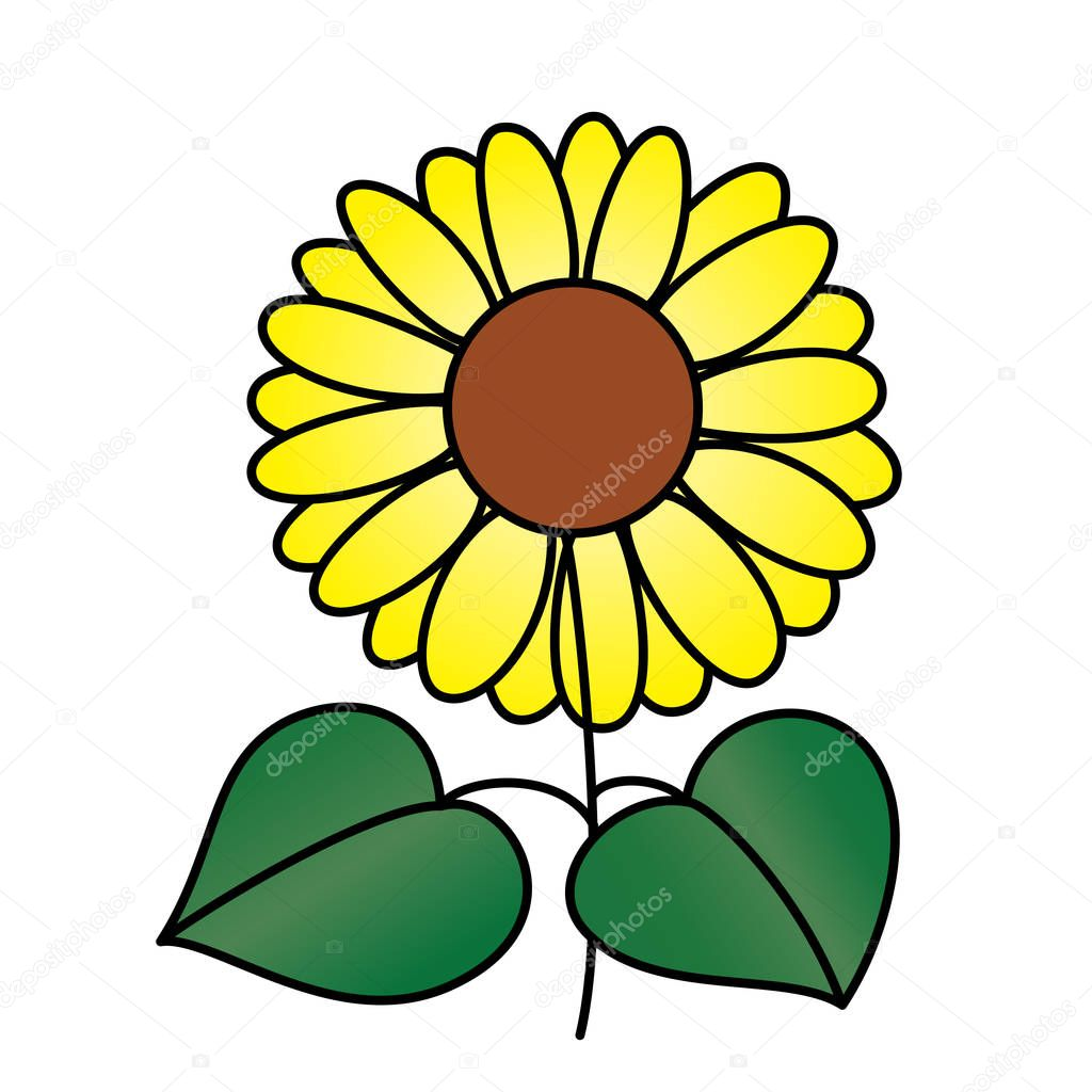 Cute Cartoon Sunflower White Background Childrens Prints ...